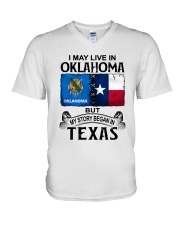 LIVE IN OKLAHOMA BEGAN IN TEXAS V-Neck T-Shirt thumbnail