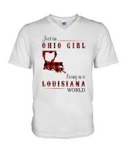 OHIO GIRL LIVING IN LOUISIANA WORLD V-Neck T-Shirt thumbnail