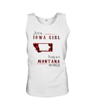 IOWA GIRL LIVING IN MONTANA WORLD Unisex Tank thumbnail