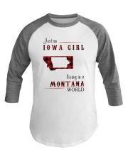 IOWA GIRL LIVING IN MONTANA WORLD Baseball Tee thumbnail