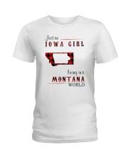 IOWA GIRL LIVING IN MONTANA WORLD Ladies T-Shirt thumbnail