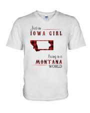 IOWA GIRL LIVING IN MONTANA WORLD V-Neck T-Shirt thumbnail