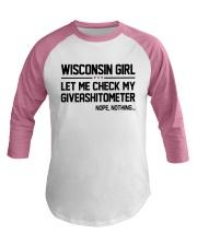 WISCONSIN GIRL LET ME CHECK MY GIVERASHITOMETER Baseball Tee thumbnail