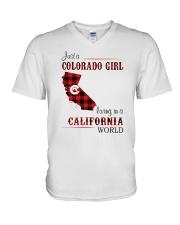COLORADO GIRL LIVING IN CALIFORNIA WORLD V-Neck T-Shirt thumbnail