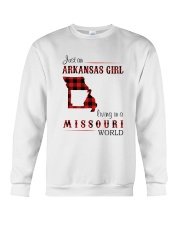 ARKANSAS GIRL LIVING IN MISSOURI WORLD Crewneck Sweatshirt thumbnail