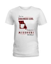 ARKANSAS GIRL LIVING IN MISSOURI WORLD Ladies T-Shirt thumbnail