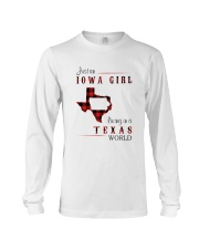 IOWA GIRL LIVING IN TEXAS WORLD Long Sleeve Tee thumbnail