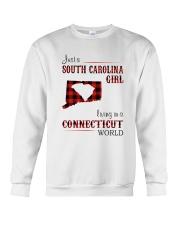 SOUTH CAROLINA GIRL LIVING IN CONNECTICUT WORLD Crewneck Sweatshirt thumbnail