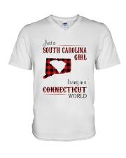 SOUTH CAROLINA GIRL LIVING IN CONNECTICUT WORLD V-Neck T-Shirt thumbnail