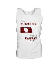 WISCONSIN GIRL LIVING IN KANSAS WORLD Unisex Tank thumbnail