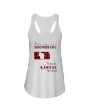 WISCONSIN GIRL LIVING IN KANSAS WORLD Ladies Flowy Tank thumbnail