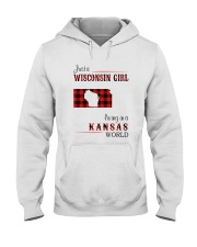 WISCONSIN GIRL LIVING IN KANSAS WORLD Hooded Sweatshirt thumbnail