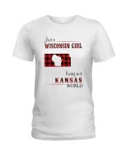 WISCONSIN GIRL LIVING IN KANSAS WORLD Ladies T-Shirt thumbnail