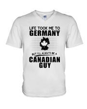 CANADIAN GUY LIFE TOOK TO GERMANY V-Neck T-Shirt thumbnail