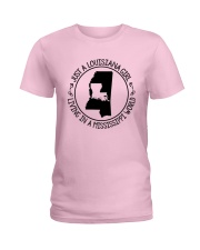 LOUISIANA GIRL LIVING IN A MISSISSIPPI WORLD Ladies T-Shirt thumbnail