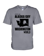 JUST AN ALASKA GUY IN A WASHINGTON WORLD V-Neck T-Shirt thumbnail