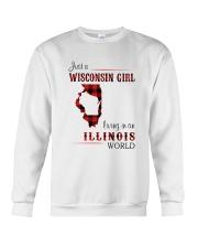WISCONSIN GIRL LIVING IN ILLINOIS WORLD Crewneck Sweatshirt thumbnail