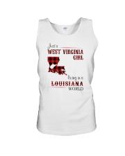 WEST VIRGINIA GIRL LIVING IN LOUISIANA WORLD Unisex Tank thumbnail