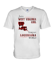 WEST VIRGINIA GIRL LIVING IN LOUISIANA WORLD V-Neck T-Shirt thumbnail