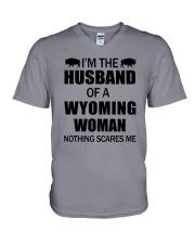 I'M THE HUSBAND OF A WYOMING WOMAN V-Neck T-Shirt thumbnail