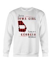IOWA GIRL LIVING IN GEORGIA WORLD Crewneck Sweatshirt thumbnail