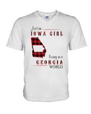 IOWA GIRL LIVING IN GEORGIA WORLD V-Neck T-Shirt thumbnail