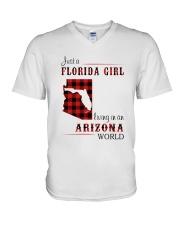 FLORIDA GIRL LIVING IN ARIZONA WORLD V-Neck T-Shirt thumbnail