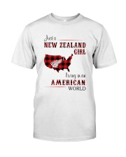 NEW ZEALAND GIRL LIVING IN AMERICAN WORLD Classic T-Shirt front