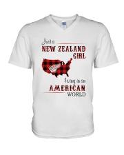 NEW ZEALAND GIRL LIVING IN AMERICAN WORLD V-Neck T-Shirt thumbnail