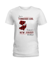 TENNESSEE GIRL LIVING IN NEW JERSEY WORLD Ladies T-Shirt thumbnail