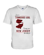 TENNESSEE GIRL LIVING IN NEW JERSEY WORLD V-Neck T-Shirt thumbnail
