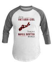 ONTARIO GIRL LIVING IN NOVA SCOTIA WORLD Baseball Tee thumbnail