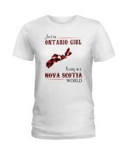ONTARIO GIRL LIVING IN NOVA SCOTIA WORLD Ladies T-Shirt thumbnail