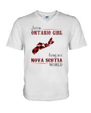 ONTARIO GIRL LIVING IN NOVA SCOTIA WORLD V-Neck T-Shirt thumbnail