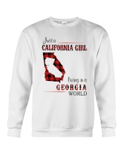 CALIFORNIA GIRL LIVING IN GEORGIA WORLD Crewneck Sweatshirt thumbnail