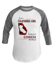 CALIFORNIA GIRL LIVING IN GEORGIA WORLD Baseball Tee tile