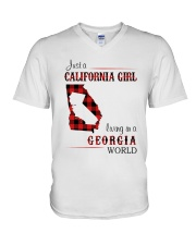 CALIFORNIA GIRL LIVING IN GEORGIA WORLD V-Neck T-Shirt thumbnail