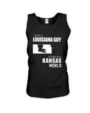 JUST A LOUISIANA GUY LIVING IN KANSAS WORLD Unisex Tank thumbnail