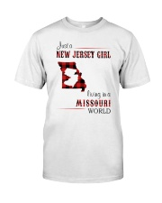 JERSEY GIRL LIVING IN MISSOURI WORLD Classic T-Shirt front