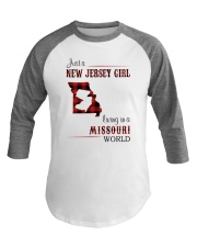 JERSEY GIRL LIVING IN MISSOURI WORLD Baseball Tee thumbnail
