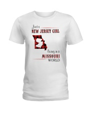 JERSEY GIRL LIVING IN MISSOURI WORLD Ladies T-Shirt thumbnail