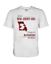 JERSEY GIRL LIVING IN MISSOURI WORLD V-Neck T-Shirt thumbnail