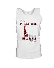 PHILLY GIRL LIVING IN DELAWARE WORLD Unisex Tank thumbnail