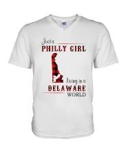 PHILLY GIRL LIVING IN DELAWARE WORLD V-Neck T-Shirt thumbnail