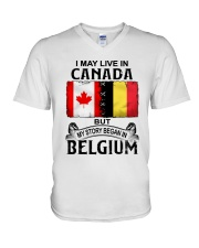 LIVE IN CANADA BEGAN IN BELGIUM V-Neck T-Shirt thumbnail