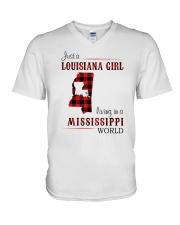 LOUISIANA GIRL LIVING IN MISSISSIPPI WORLD V-Neck T-Shirt thumbnail