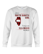 SOUTH DAKOTA GIRL LIVING IN ILLINOIS WORLD Crewneck Sweatshirt thumbnail