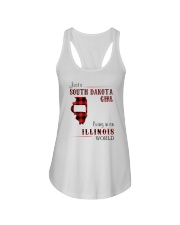 SOUTH DAKOTA GIRL LIVING IN ILLINOIS WORLD Ladies Flowy Tank thumbnail