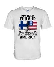 LIVE IN FINLAND BEGAN IN AMERICA V-Neck T-Shirt thumbnail