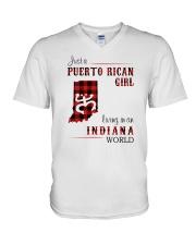 PUERTO RICAN GIRL LIVING IN INDIANA WORLD V-Neck T-Shirt thumbnail